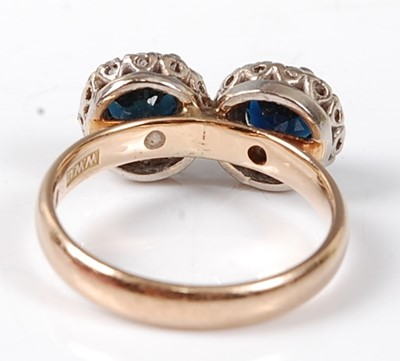 Lot 2532 - A 9ct yellow and white gold, sapphire and...