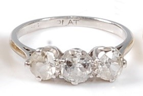 Lot 2521 - An early 20th century white metal diamond...