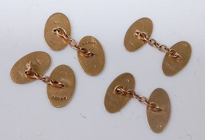 Lot 2538 - Two pairs of 9ct yellow gold double-ended...