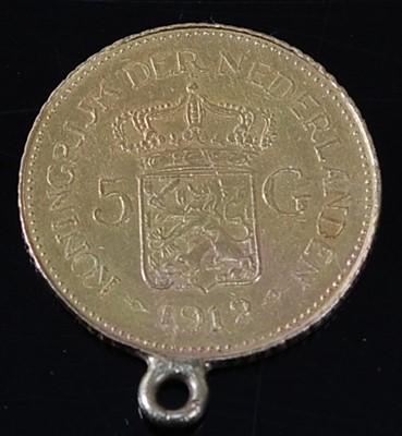 Lot 2064 - Netherlands, 1912 gold 5 gulden, Wilhelmina I,...