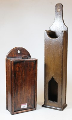 Lot 16 - A George III oak wall hanging candle-box,...