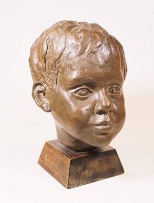 Lot 17 - A 20th century bronzed portrait bust of a boy,...