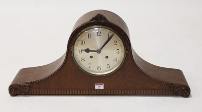 Lot 20 - A 1930s oak cased eight day mantel clock, the...