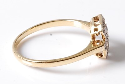 Lot 2555 - A yellow and white metal diamond oblong...