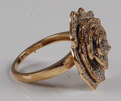 Lot 2556 - A 9ct yellow gold diamond cluster ring in the...