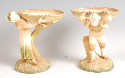 Lot 1028 - A pair of Hadley Worcester figures in the Kate...