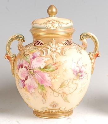Lot 1018 - A Royal Worcester porcelain pot pourri vase...