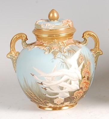Lot 1017 - A Royal Worcester porcelain pot pourri vase...