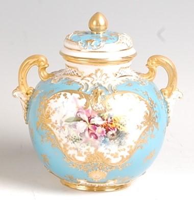 Lot 1019 - A Royal Worcester porcelain pot pourri vase...