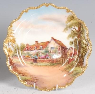 Lot 1024 - A Royal Worcester porcelain cabinet plate,...