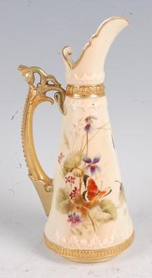 Lot 1021 - A Royal Worcester porcelain ewer,enamel...