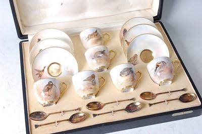 Lot 1025 - A Royal Worcester cased set of six porcelain...