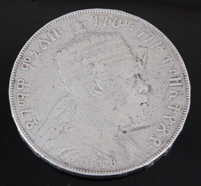Lot 2094 - Ethiopia, 1 Birr, Menelik II (1887-1889), rev;...