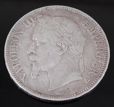Lot 2095 - France, 1867 5 Francs, Napoleon III laureate...