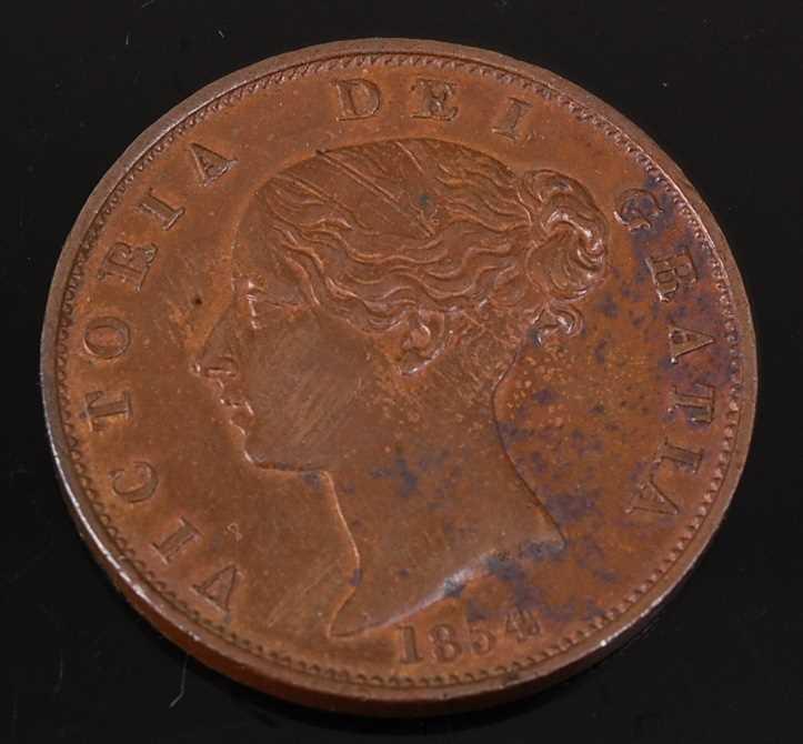 Lot 2096 - Great Britain, 1854 half penny, Victoria bun...