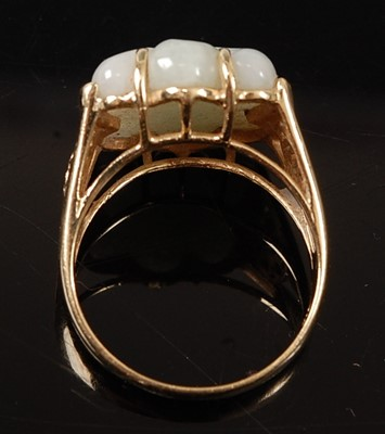 Lot 2563 - A 14ct yellow gold jadeite dress ring,...
