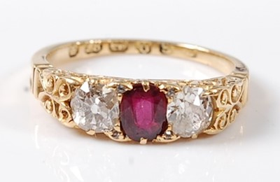 Lot 2567 - A late Victorian 18ct yellow gold, ruby and...