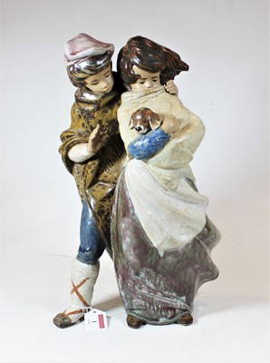 Lot 1 - A large Lladro figure group of a boy and girl,...