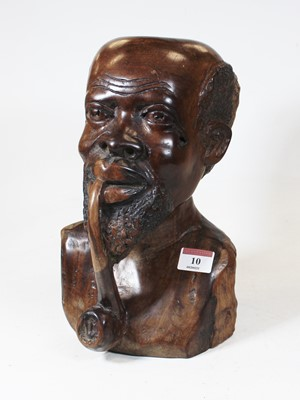 Lot 10 - A large carved hardwood head and shoulders...