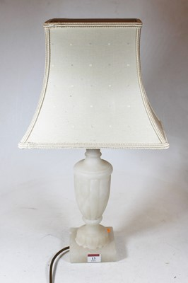 Lot 13 - A carved alabaster table lamp, of fluted urn...