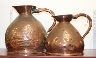 Lot 19 - A large 19th century copper flagon, h.37cm;...