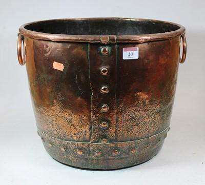 Lot 20 - A 19th century copper log bin, of riveted...