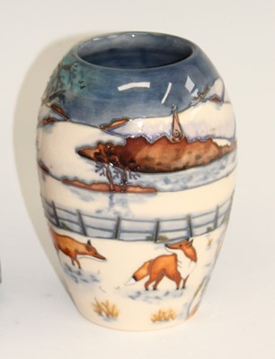 Lot 17 - A contemporary Moorcroft Fox in Snow pattern...