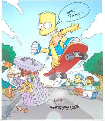 Lot 548 - The Simpsons, a colour print showing Bart...