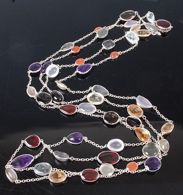 Lot 2613 - A white metal multi-stone long necklet, to...