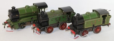 Lot 205 - Three Hornby 0-4-0 clockwork LNER green locos:...