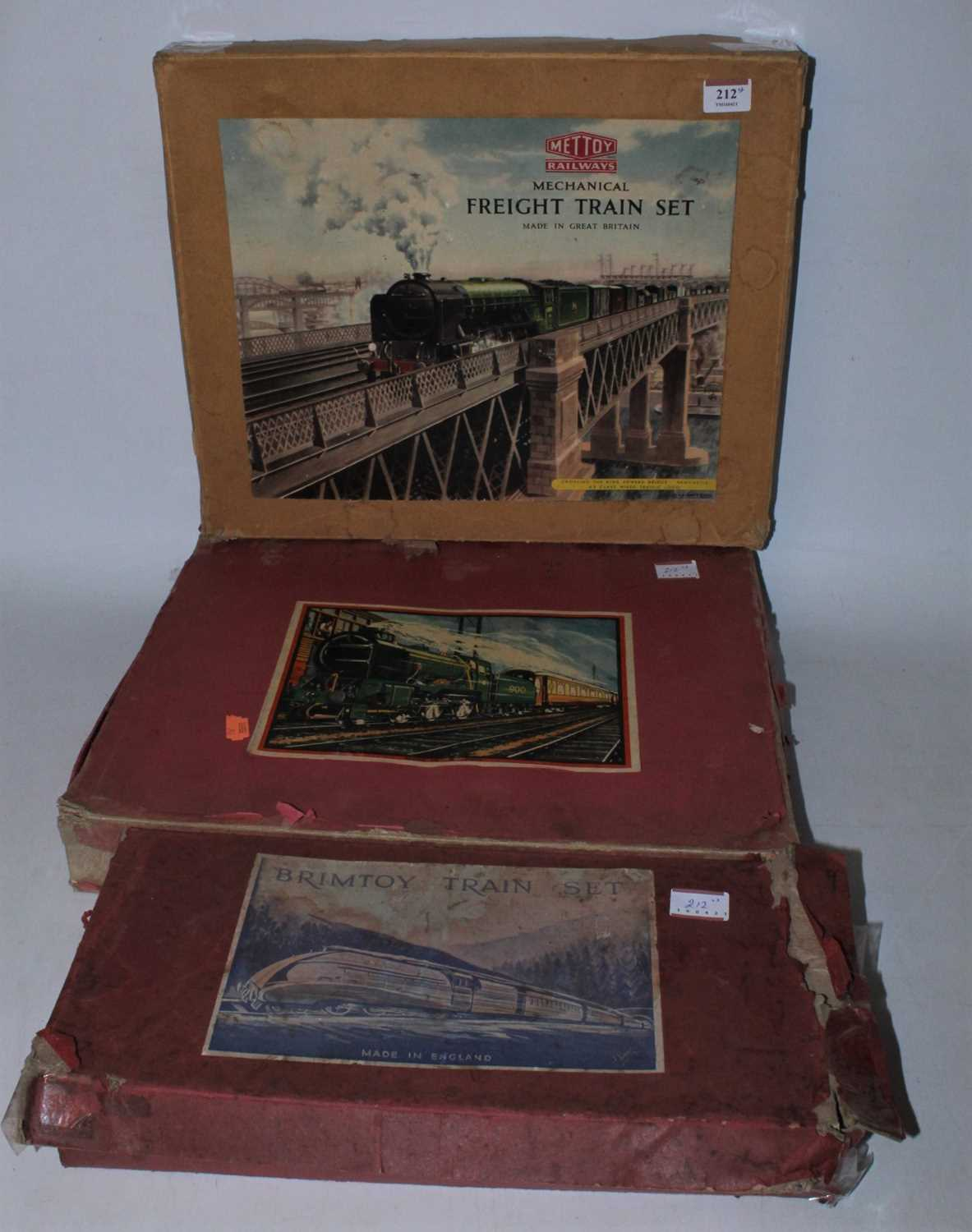 Lot 212 - Three train sets: Mettoy freight comprising...