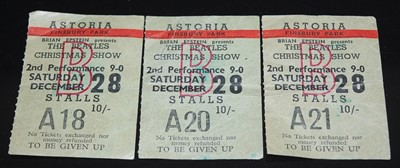 Lot 543 - The Beatles, a set of three ticket stubs from...