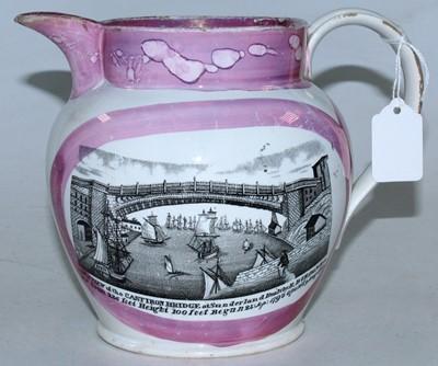 Lot 11 - A 19th century Sunderland lustre jug, transfer...