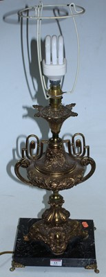 Lot 13 - A large gilt metal table lamp of urn shape,...