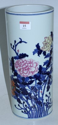 Lot 15 - A Chinese stoneware vase of cylindrical form,...