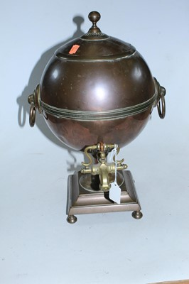 Lot 16 - An early 20th century copper samovar of...