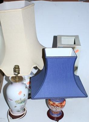 Lot 17 - A modern ceramic table lamp of baluster shape,...