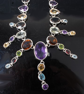 Lot 2627 - A sterling silver multi-stone fringe necklet,...