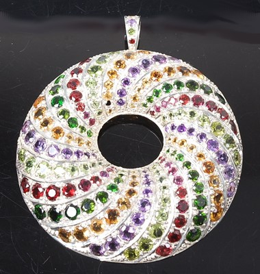 Lot 2628 - A sterling silver multi-stone large circular...