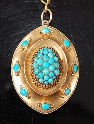 Lot 2622 - A late Victorian yellow metal turquoise oval...
