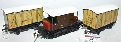 Lot 351 - 3 Hornby Dublo Post War SR Goods Wagons, Meat...