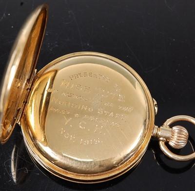 Lot 2583 - An 18ct yellow gold lady's half hunter keyless...