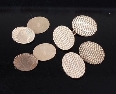Lot 2591 - Two pairs of 9ct yellow gold double-ended...