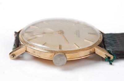 Lot 2586 - A yellow metal Longines manual wind wristwatch,...