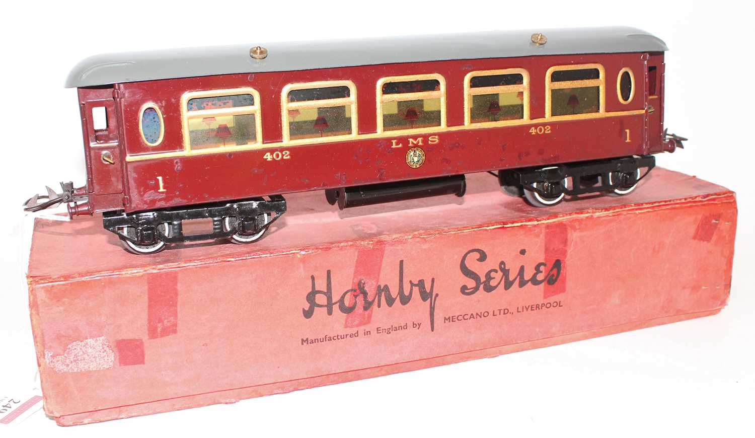 Lot 249 - 1930-41 Hornby No.2 LMS 402 Saloon Coach, roof...