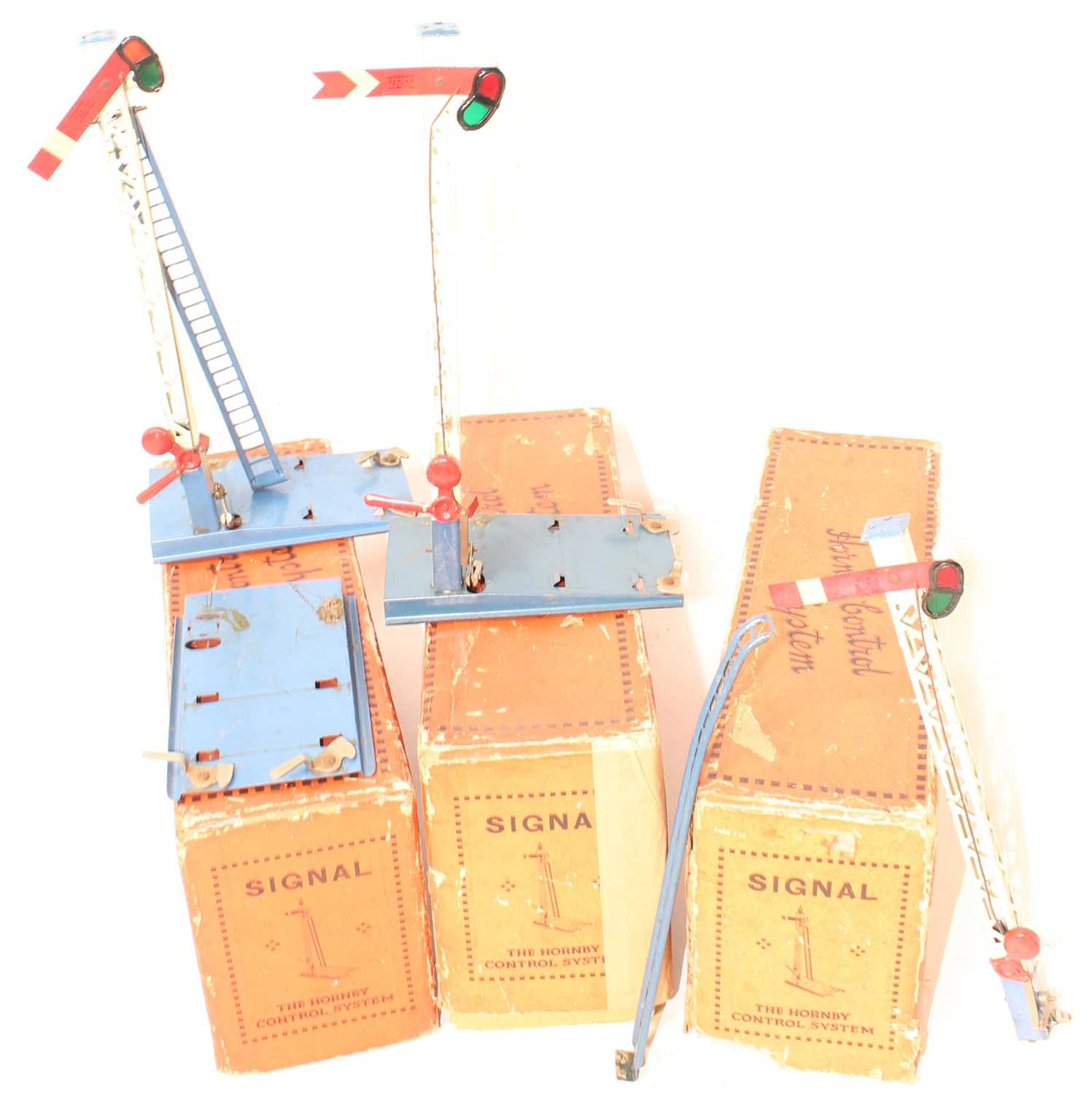 Lot 243 - 3 Hornby Single Arm control signals, 2x Home...