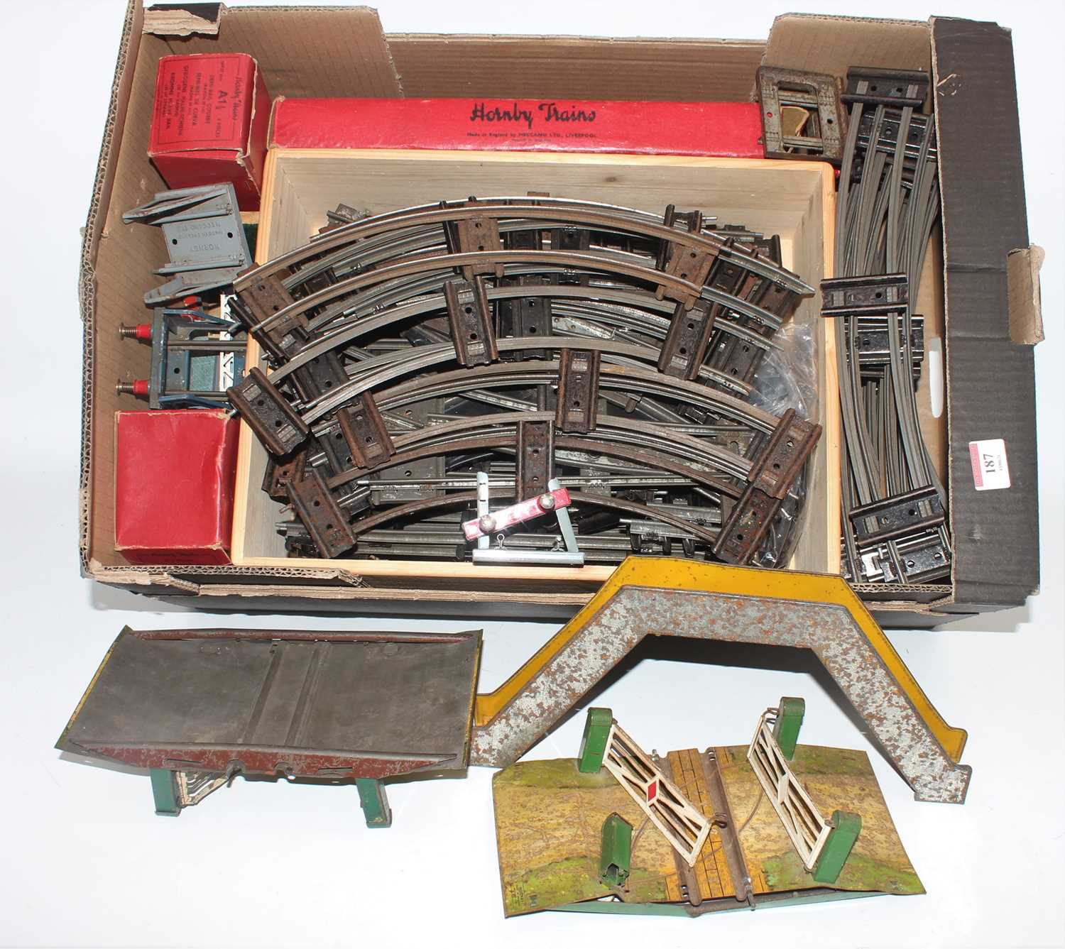 Lot 254 - Large tray containing Hornby Clockwork Track,...