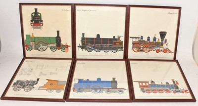 Lot 6 - 6 framed and glazed railway prints, all...