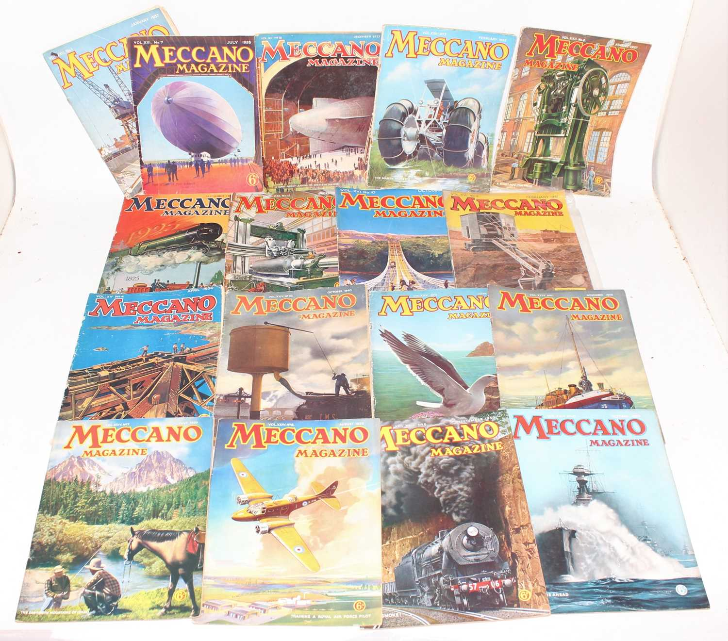 Lot 18 - 17 issues of Meccano Magazine, various dates...