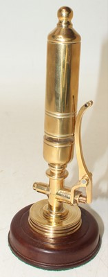 Lot 33 - Brass Train Whistle, on wooden plinth, well...